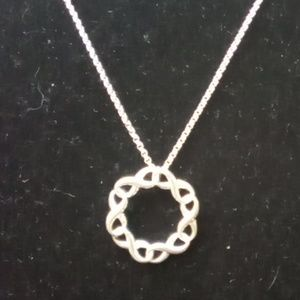"SAQ Silvertoned Jewelry Necklace. 16"" chain."